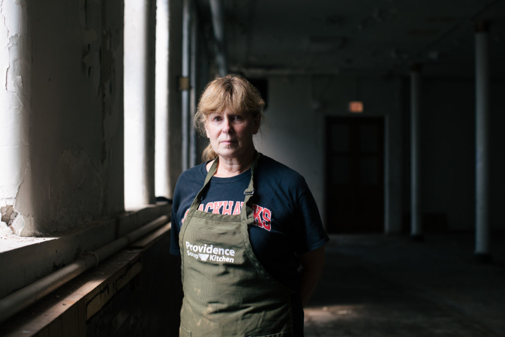Roberta Shepherd, volunteer coordinator at the Providence Soup Kitchen, poses for a photo